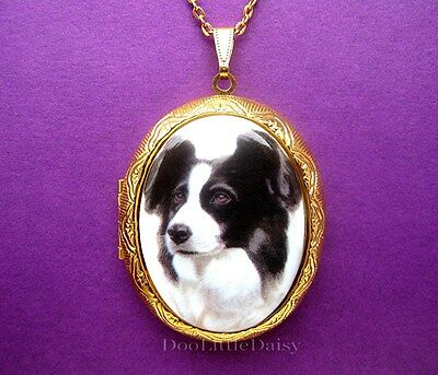 DOGS Porcelain BORDER COLLIE DOG CAMEO Costume Jewelry Locket Pendant Necklace