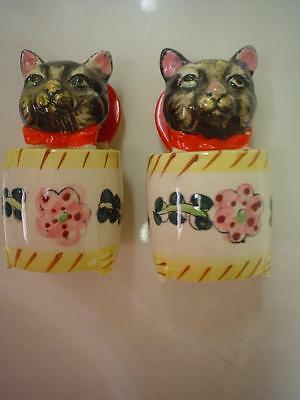 Antique Vintage Black Cat Meowing Salt & Pepper Shakers Made In Japan Shafford?