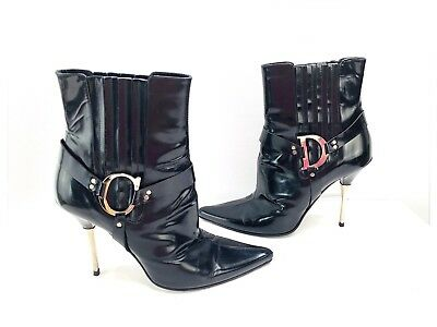6308d1def Christian Dior CD Bottine Leather Ankle Boots - Black Size 39 1/2 US 8.5