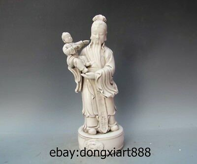 "15"" China Dehua White Porcelain & Pottery God of Lucky Old Man Boy Buddha Statue"