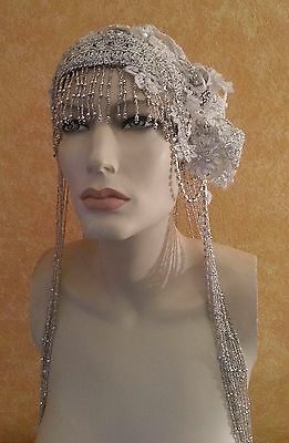 Gatsby 20's Silver Bead Lace Crystal Flapper Wedding Headpiece Hat Belly Dance