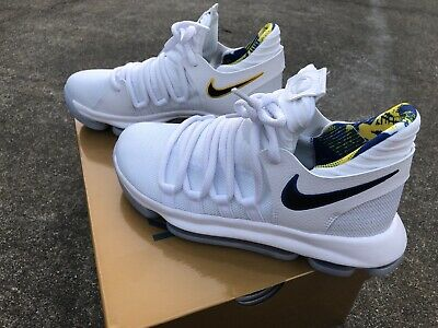 852c677da7e3 Nike Zoom KD10 Kevin Durant Warriors Edition White Blue Size 6.5 Youth