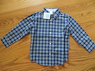 Janie and Jack Toddler Boys Blue Plaid Button Up Long Sleeve Shirt Size 3 NWT