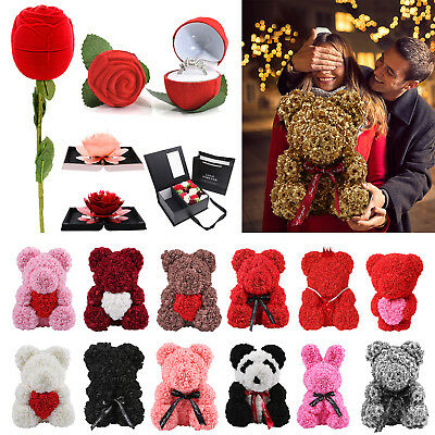 Girlfriend Rose Flowers Teddy Bear Wedding Valentine's Day Gifts Box Ring Boxes
