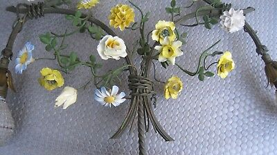 Antique Wall Sconce French brass porcelain Floral 2 Lamp chandelier PICK UP ONLY