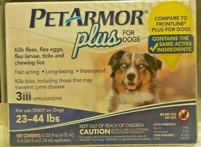 PetArmor Plus Flea Tick and Lice Formula for Dogs 23-44 lbs 3 Month Application