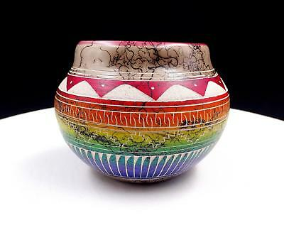 """Hilda Whitegoat Navajo Pottery Horse Hair Red Accented 3 1/2"""" Vase"""