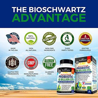 Bio Schwartz Probiotic Advanced Strength 40 Billion CFU Supplement (60 Capsules)