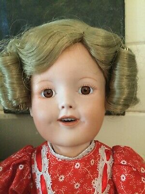 PORCELAIN SHIRLEY TEMPLE DOLL 38cm TALL WITH STAND
