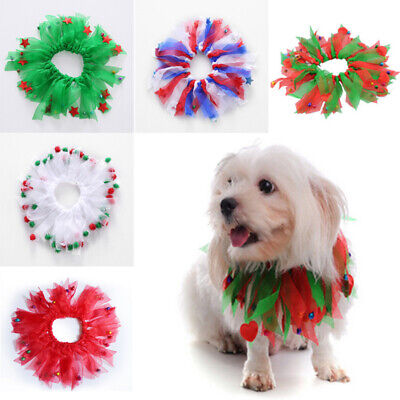 New Christmas Cute Dots Hot Xmas Red Scrunchie Holiday Aria Neck Dog Collar Pet