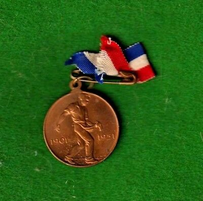 Australia. Fifty Years Commonwealth Medal. 1901-1951. Complete With Ribbon.