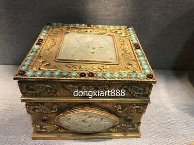 15 CM Tibetan Bronze 24K Gold inlay turquoise Jade square small case Box casket