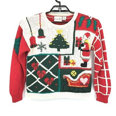 Vintage 80s 90s Copper Key Womens Ugly Christmas Holiday Sweater Size Medium