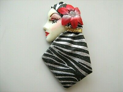 Stunning Art Decco Lady Brooch, Hand Painted Face,silk Scarf, Mothers Day Gift,?