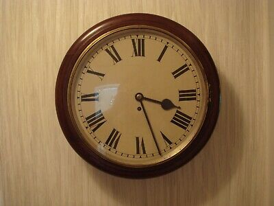 "Antique Dark  Mahogany Station/school 18"" Clock"