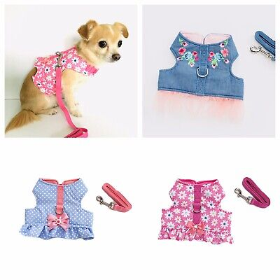 Small Dog Harness and Lead Set Pink Daisy Blue Green Puppy Chihuahua Yorkie XS-M