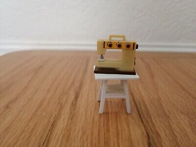 Vintage lundby dolls house furniture - vintage sewing machine and table