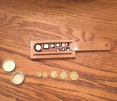 Set Of 5 Vintage Apothecary Scale Weights Tokens And Jewelers Calibration Set