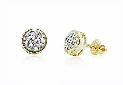 a15095311 10K Yellow Gold Diamond Stud Earrings 7mm Round Micro Pave Drum Shape .10ct