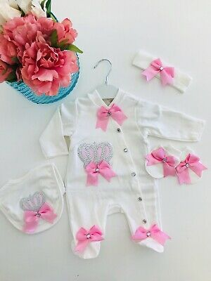 5 Piece Baby Girl Set Baby Shower Gift Clothes Romper Romany Outfit  Pink Crown