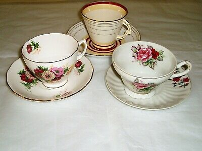 Lot of vintage china tea cups and saucers , tea party , flawed