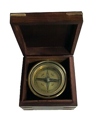 Square Wood Box Gimbal Mounted Nautical Compass For Parts Or Repair See Descr