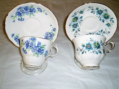 Lot of vintage china tea cups and saucers , tea party , blue floral