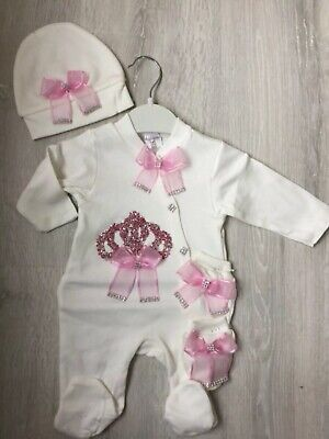 baby girl pink crown romper bodysuit growbag hat Baby Clothes Romany Outfit Set