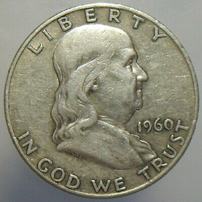 1960-D 50c Franklin Half Dollar Silver US Circulated Collectible Coin