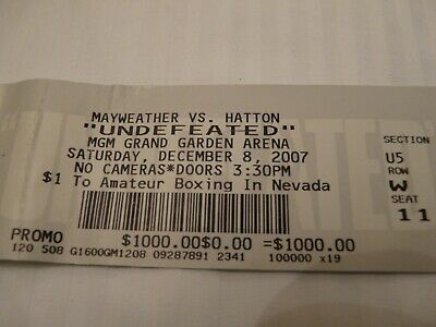 Ticket for the Mayweather v Hatton fight 2007 - Used $1,000 face value