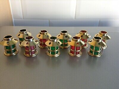 10 x GOLD LANTERN SHADES for PIFCO CHRISTMAS LIGHTS Red & Green
