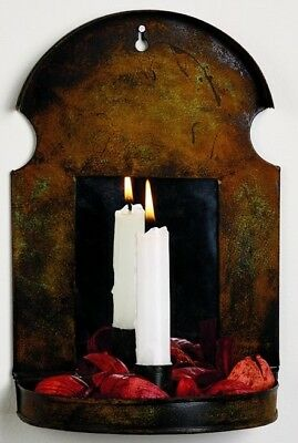 Reproduction Primitive Vintage Colonial Rust Metal Candle Sconce w/ Mirror 10.5""