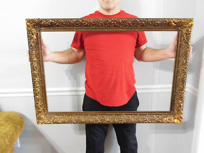 """Vintage Ornate Wood Gesso Picture Frame 27 1/2"""" x 39 1/2"""" fits 22"""" x 34"""""""