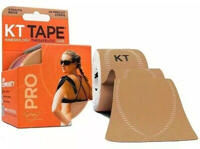 KT TAPE PRO Kinesiology Therapeutic Sports Tape Beige, 20 Precut 10 Inch Strips