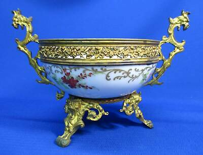 Early Sevres French Porcelain Hand-Painted Bowl Set In Brass Base & Frame