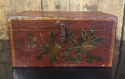 Antique Chinese Hand Painted Wooden Storage Box