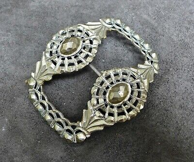 Antique silver large buckle with a diamond decor, Dutch, 18th. 19th. century