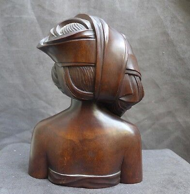 Very Nice quality woodcarving, statue of a lady, BALI Indonesia collected 1949
