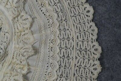 antique collar white cotton lace large 6 in. wide original vg