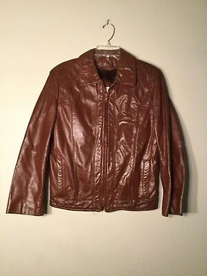 6b6ee818c BERMANS VINTAGE WOMEN'S Leather Bomber Jacket Light Brown Size SMALL ...