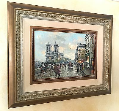 Antique Original Oil Painting in Handmade, Signed by Antoine Blanchard Framed