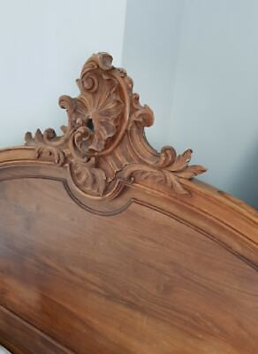 Antique French Wood Louis XV Style Rococo Double Bed Frame Wooden Shabby Chic