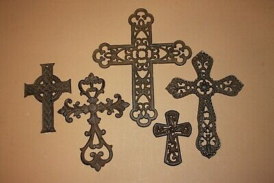 (5) Rustic Cast Iron Wall Crosses Home Decor ~ San Louis Collection