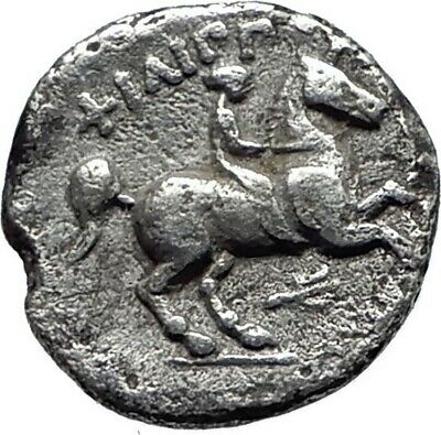 PHILIP II Alexander the Great Dad OLYMPIC GAMES Silver Greek Coin Horse i75410