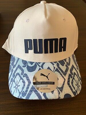 2817f84c589 NEW! Puma Golf Go Time Snapback Adjustable Cap Hat Bright White Peacoat NWT