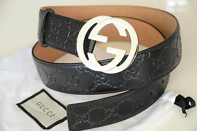 dd194793881 Authentic GUCCI Black Guccissima Leather SILVER GG Buckle size 85 34 fits  28-30