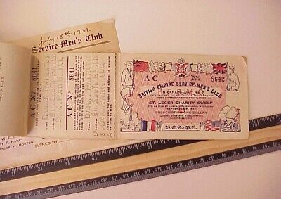 Canadian British Empire Service Men's Club 1931 Horse Race Lottery Ticket Book
