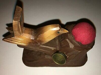 Nadelkissen Vogel Holz Fingerhutbehälter Pin Cushion Thimble Case Bird Wood