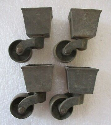 """SWIVEL SQUARE CUP STYLE BRASS CASTERS SET of 4 ANTIQUE 2 1/2"""" high"""