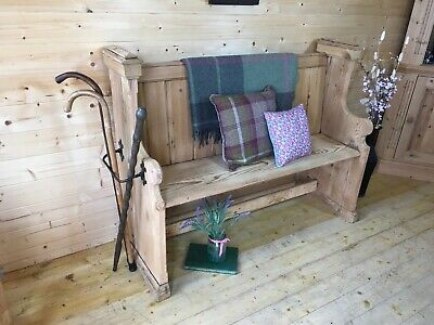 Rustic Antique Solid raw pine church pew monks bench settle wooden hall seat